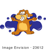 #23612 Clip Art Graphic Of A Cute Brown Dog Cartoon Character Logo With Blue Paint Splatters