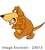 #23613 Clip Art Graphic of a Grumpy Brown Hound Dog Cartoon Character by toons4biz