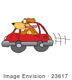 #23617 Clip Art Graphic Of A Cute Brown Hound Dog Cartoon Character Riding In A Red Car