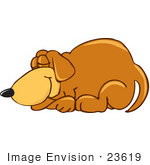 #23619 Clip Art Graphic Of A Cute Brown Hound Dog Cartoon Character Curled Up And Sleeping Peacefully