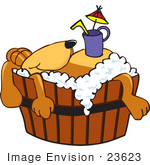 #23623 Clip Art Graphic Of A Cute Brown Hound Dog Cartoon Character Taking A Leisurely Bubble Bath And Drinking A Beverage