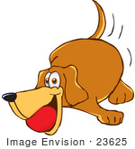 #23625 Clip Art Graphic of a Cute Brown Hound Dog Cartoon Character With a Ball in His Mouth by toons4biz