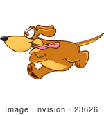 #23626 Clip Art Graphic Of An Obsessed Brown Hound Dog Cartoon Character Running With His Tongue Flapping In The Wind by toons4biz