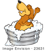#23631 Clip Art Graphic Of A Cute Brown Hound Dog Cartoon Character Soaping Up His Armpits While Taking A Bubble Bath In A Tub