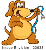 #23633 Clip Art Graphic of a Cute Brown Hound Dog Cartoon Character Holding up a Blue Leash and Waiting for a Walk by toons4biz