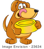 #23634 Clip Art Graphic Of A Hungry Brown Hound Dog Cartoon Character Licking His Chops And Holding A Yellow Food Bowl