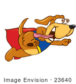 #23640 Clip Art Graphic Of A Cute Brown Super Hero Hound Dog Cartoon Character