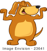 #23641 Clip Art Graphic Of A Cute Brown Hound Dog Cartoon Character Flexing His Muscles