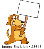 #23643 Clip Art Graphic Of A Cute Brown Hound Dog Cartoon Character Holding A Blank Sign