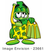 #23661 Clip Art Graphic Of A Green Usd Dollar Sign Cartoon Character In Green And Yellow Snorkel Gear