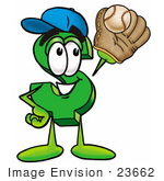 #23662 Clip Art Graphic Of A Green Usd Dollar Sign Cartoon Character Catching A Baseball With A Glove