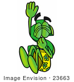 #23663 Clip Art Graphic Of A Green Usd Dollar Sign Cartoon Character Plugging His Nose While Jumping Into Water