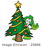 #23666 Clip Art Graphic Of A Green Usd Dollar Sign Cartoon Character Waving And Standing By A Decorated Christmas Tree