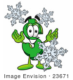 #23671 Clip Art Graphic Of A Green Usd Dollar Sign Cartoon Character With Three Snowflakes In Winter