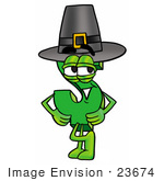#23674 Clip Art Graphic Of A Green Usd Dollar Sign Cartoon Character Wearing A Pilgrim Hat On Thanksgiving