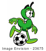 #23675 Clip Art Graphic of a Green USD Dollar Sign Cartoon Character Kicking a Soccer Ball by toons4biz