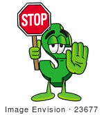 #23677 Clip Art Graphic Of A Green Usd Dollar Sign Cartoon Character Holding A Stop Sign