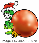 #23679 Clip Art Graphic Of A Green Usd Dollar Sign Cartoon Character Wearing A Santa Hat Standing With A Christmas Bauble