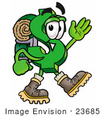 #23685 Clip Art Graphic Of A Green Usd Dollar Sign Cartoon Character Hiking And Carrying A Backpack