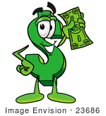 #23686 Clip Art Graphic of a Green USD Dollar Sign Cartoon Character Holding a Dollar Bill by toons4biz