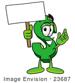 #23687 Clip Art Graphic of a Green USD Dollar Sign Cartoon Character Holding a Blank Sign by toons4biz