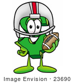 #23690 Clip Art Graphic of a Green USD Dollar Sign Cartoon Character in a Helmet, Holding a Football by toons4biz