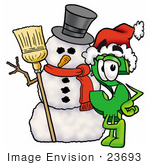 #23693 Clip Art Graphic Of A Green Usd Dollar Sign Cartoon Character With A Snowman On Christmas