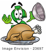 #23697 Clip Art Graphic Of A Green Usd Dollar Sign Cartoon Character Serving A Thanksgiving Turkey On A Platter