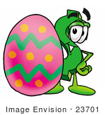 #23701 Clip Art Graphic Of A Green Usd Dollar Sign Cartoon Character Standing Beside An Easter Egg
