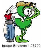 #23705 Clip Art Graphic Of A Green Usd Dollar Sign Cartoon Character Swinging His Golf Club While Golfing