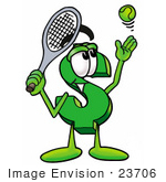 #23706 Clip Art Graphic Of A Green Usd Dollar Sign Cartoon Character Preparing To Hit A Tennis Ball