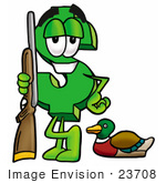 #23708 Clip Art Graphic Of A Green Usd Dollar Sign Cartoon Character Duck Hunting Standing With A Rifle And Duck