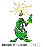 #23709 Clip Art Graphic Of A Green Usd Dollar Sign Cartoon Character With A Bright Idea