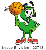 #23713 Clip Art Graphic Of A Green Usd Dollar Sign Cartoon Character Spinning A Basketball On His Finger