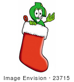 #23715 Clip Art Graphic Of A Green Usd Dollar Sign Cartoon Character Inside A Red Christmas Stocking