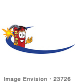 #23726 Clip Art Graphic Of A Stick Of Red Dynamite Cartoon Character Logo With A Blue Dash