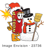 #23736 Clip Art Graphic Of A Stick Of Red Dynamite Cartoon Character With A Snowman On Christmas