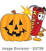 #23739 Clip Art Graphic Of A Stick Of Red Dynamite Cartoon Character With A Carved Halloween Pumpkin