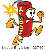#23740 Clip Art Graphic Of A Stick Of Red Dynamite Cartoon Character Running