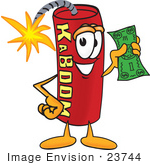 #23744 Clip Art Graphic of a Stick of Red Dynamite Cartoon Character Holding a Dollar Bill by toons4biz