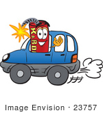 #23757 Clip Art Graphic of a Stick of Red Dynamite Cartoon Character Driving a Blue Car and Waving by toons4biz