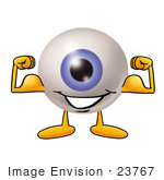 #23767 Clip Art Graphic of a Blue Eyeball Cartoon Character Flexing His Arm Muscles by toons4biz