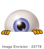 #23778 Clip Art Graphic Of A Blue Eyeball Cartoon Character Peeking Over A Surface