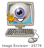 #23779 Clip Art Graphic Of A Blue Eyeball Cartoon Character Waving From Inside A Computer Screen