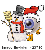 #23780 Clip Art Graphic Of A Blue Eyeball Cartoon Character With A Snowman On Christmas