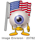 #23782 Clip Art Graphic Of A Blue Eyeball Cartoon Character Pledging Allegiance To An American Flag