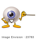 #23783 Clip Art Graphic Of A Blue Eyeball Cartoon Character Holding A Pointer Stick