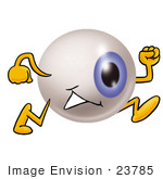 #23785 Clip Art Graphic of a Blue Eyeball Cartoon Character Running by toons4biz