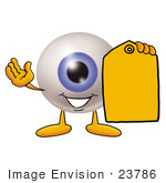 #23786 Clip Art Graphic Of A Blue Eyeball Cartoon Character Holding A Yellow Sales Price Tag