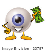 #23787 Clip Art Graphic Of A Blue Eyeball Cartoon Character Holding A Dollar Bill